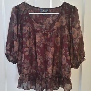 Fall-color floral sheer boho blouse